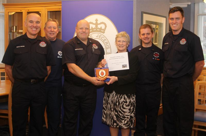 The President is pictured with IOM Fire and Rescue Service officers