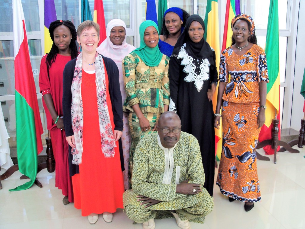 Ellen Callister pictured with the Hansard team of the National Assembly of The Gambia